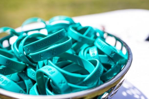 Teal bracelets to represent Ovarian Cancer